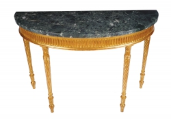 Pair of Hepplewhite style carved gilt wood console tables with green marble tops (4,000-6,000).