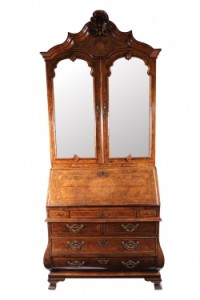 Walnut and inlaid bureau bookcase c1740 (10,000-15,000).