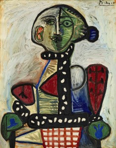 Pablo Picasso Femme au chignon dans un fauteuil Signed Picasso (upper right) and dated 1.11.48 on the reverse ($12-18 million)