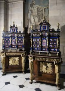 A pair of Italian pietre dure and ormolu-mounted ebony cabinets, roman, early 17th century, on a pair of regency rosewood and parcel gilt stands  (£700,000-1,000,000).