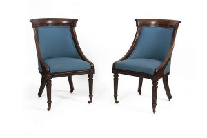 PAIR OF WILLIAM IV MAHOGANY FRAMED SIDE CHAIRS (2,000-3,000).