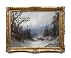 ADOLF SCHREYER (1828-1899) Loading firewood in a Snowy Forest (3,000-5,000).