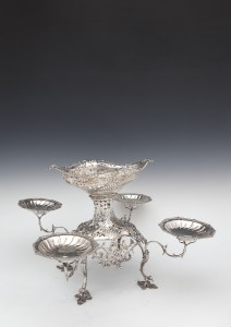 AN IMPORTANT IRISH GEORGE III FOUR-BRANCH CENTREPIECE EPERGNE, Dublin 1770, mark of Charles Mullen (Mullin) (12,000-16,000).