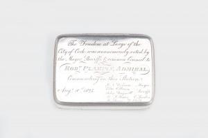 A CORK FREEDOM BOX, mark of Richard Garde of Cork, bearing Dublin hallmarks for 1825 (8,000-12,000).