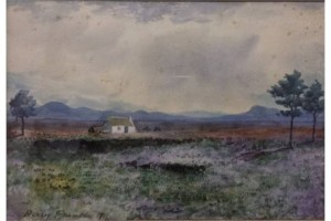 Percy French - West of Ireland cottage in a landscape (watercolour) (3,000-4,000).