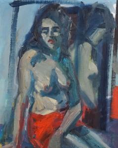 Brian Ballard RUA (b.1943) Woman in Red Skirt (2010)  sold for 1,400