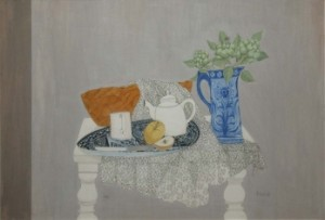 Pauline Bewick RHA - Still life with artichokes (2,000-3,000).