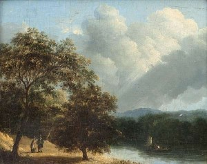James Arthur O'Connor (1792-1841) River Landscape with Figures in a Boat and Couple Walking  (3,000-5,000).