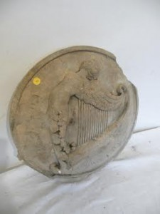 A Georgian stone plaque with the Hibernia harp, London 1802