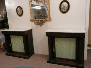 A pair of Irish 19th century mahogany side cabinets c1840 (4,000-6,000).