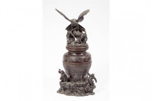 A large Japanese Meiji Period bronze urn and cover.