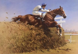 Peter Curling (b.1955) Aldaniti, Grand National, Aintree 1981  limited edition lithograph signed & numbered 317/500 signed by Peter Curling (Artist), Bob Campion (Jockey), John Gilford (Trainor), Nick Embiricos (Owner) (200-400).