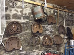 A selection of cast iron tractor seats.