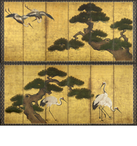 Pair of six fold paper screens, Japan 17th century Edo Period at Gregg Baker Asian Art.