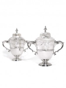 Two fine matching Irish George II silver cups and covers, one Robert Calderwood, both Dublin, 1736 and 1739 sold for £35,000.
