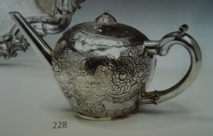 Later chased Dublin George I 1714 teapot no maker's mark.