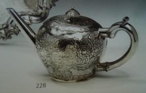 Later chased Dublin George I 1714 teapot no maker's mark.