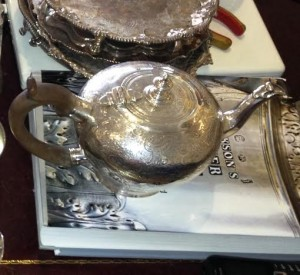 Later chased Cork George II inverted pear shape teapot by George Hodder 1745