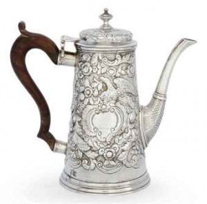 Later chased Dublin Geo II Coffee Pot by William Williamson 1745.