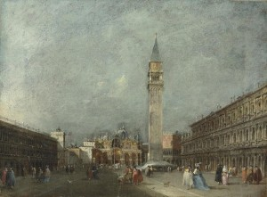 Francesco Guardi (1712-1793).  One of a pair of Venetian views: >The Piazza San Marco looking towards the Basilica  © Christie's Images Limited 2015