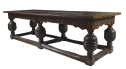 An Elizabethan carved oak refectory table 16th century and later  (6,000-9,000).