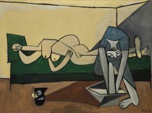 Pablo Picasso - Nu couche et femme se lavant les pieds.