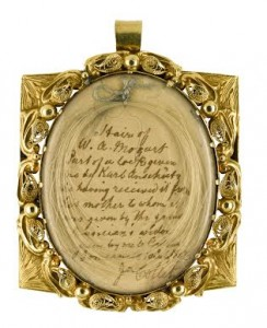 The locket containing a lock of Mozart's hair.