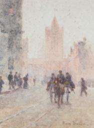 Rose Barton - Street Scene - sold for £2,500