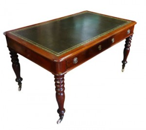 19th century mahogany pedestal writing table  (1,200-1,800).
