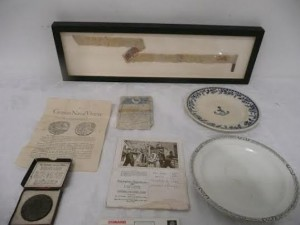 A collection of souvenirs from the Lusitania.
