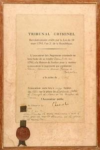 Lot 13 is the Tribunal Criminel death sentence.