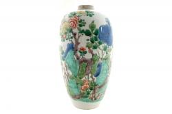 A Chinese famille verte vase, Kangxi period (1662-1722). (800-1,200).
