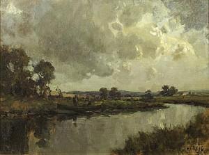 James Humbert Craig RHA RUA (1877-1944) RAIN STORM, COUNTY ANTRIM, c.1920 (4,000-6,000).