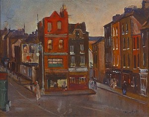 Maurice MacGonigal PRHA (1900-1979) VIEW OF BOLTON STREET, DUBLIN AT THE INTERSECTION WITH CAPEL STREET, c.1927 (4,000-5,000).