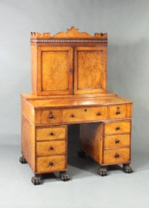 A Chinese made amboyna desk and bookcase at Moxhams Antiques