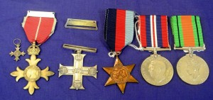 The medal set including the Military Cross  awarded to Tom Duggan.