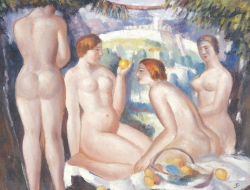 A 1920's British artwork signed with the monogram S.F. - Figures and Fruit in a landscape (8,000-12,000).
