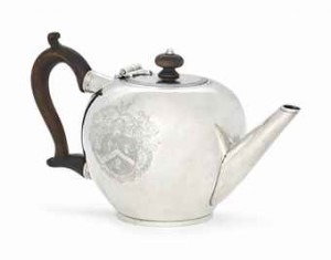 A GEORGE I IRISH SILVER BULLET TEAPOT MARK OF MATTHEW WALKER, DUBLIN, 1717