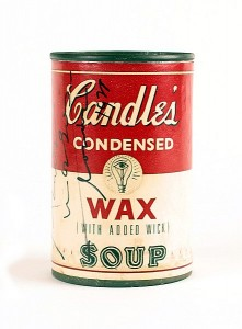 Andy Warhol signed Candles Condensed Wax (With Added Wick) Soup (500-700).