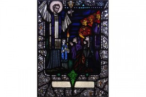 This stained glass panel of St. Francis Xavier preaching in the Orient sold for a hammer price of 31,000.