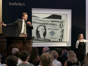 Andy Warhol's One Dollar Bill (Silver Certificate) selling for £20.9 million.
