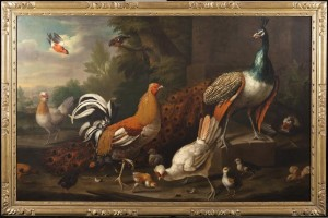 CHARLES COLLINS  1680 - 1744 A Peacock, a Gamecock, Three Tufted Hens with Chicks and other Birds, including a Bullfinch, in a Landscape