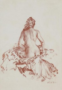 Sir William Russell Flint's red chalk drawing, Study of a Seated Nude (4,000-5,000)