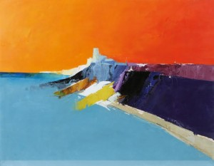 Donald Hamilton Fraser's Seascape - Headland Orange and Blue (3,000-5,000).