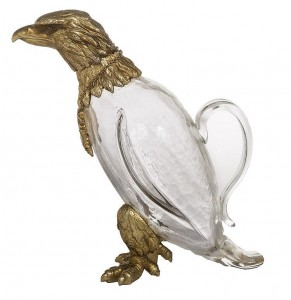 A decanter in the shape of an eagle.