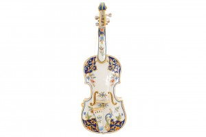 A 19th century Italian miniature faience violin