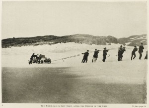 The motor car in soft snow after the return of the ship. (Taken during the British Antarctic Expedition 1907-1909.