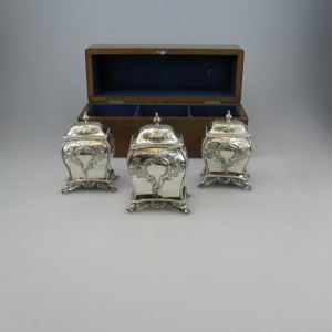 Antique Irish Silver Dublin Tea Caddies Dennis Fray 1786