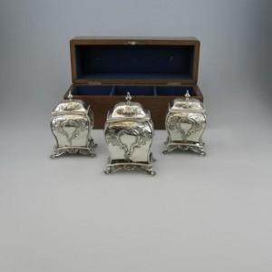 Antique Irish Silver Dublin Tea Caddies Dennis Fray 1786