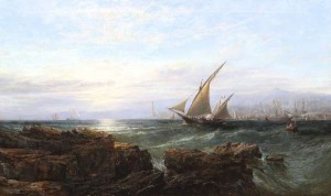 EDWIN HAYES RHA RI ROI (1819-1904) Shipping off the Coast at Genoa MADE 8,200